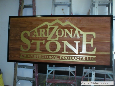 large sandblasted redwood clear coated gold paint